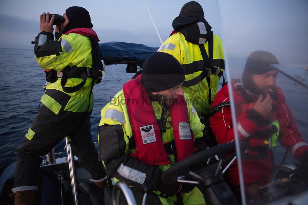 Tsonia, Lesvos, Greece - 28.02.2016 <br /> <br /> Night shift of the lifeboat team of the German NGO Sea Watch. The rescue crew patrol between the Greek island of Lesvos and Turkey to assist distressed refugee boats .<br /> <br /> Nachtschicht des Rettungsboot Teams der deutschen NGO Sea-Watch. Die Rettungskräfte patrouillieren zwischen Lesbos und der Tuerkei um in Not geratene Fluechtlingsboote zu unterstuetzen. <br /> <br /> Foto: Bjoern Kietzmann