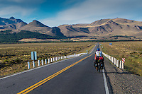 Cyclist on the road at the Argentinian pampa