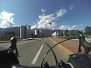 Thursday 21st August 2014: Crossing a bridge over the river in Cluses.
