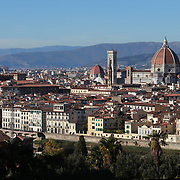 FLORENCE, ITALY - OCTOBER 31: <br /> A panoramic view of Florence showing Florence's Cathedral, Basilica di Santa Maria del Fiore, known as Duomo in Florence, Italy. The Duomo is the main church of the city of Florence. Construction was started in 1296 in the Gothic style with the structure completed in 1436. The famous dome was designed by Arnolfo di Cambio and engineered by Filippo Brunelleschi. Florence, Italy, 31st October 2017. Photo by Tim Clayton/Corbis via Getty Images)