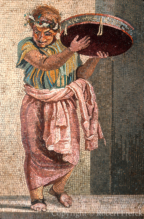 ITALY, ROMAN CULTURE mosaic from Pompeii of a musician with a tambourine, now in the National Museum of Archaeology in Naples