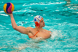 Guus Wolswinkel of the Netherlands in action against Romania during the Olympic qualifying tournament. The Dutch water polo players are on the hunt for a starting ticket for the Olympic Games on February 16, 2021 in Rotterdam