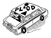 """(Policeman driving police car with """"PLOD"""" spelt out on roof)"""
