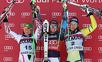 ALPINE SKIING - WORLD CUP 2011/2012 - BEAVER CREEK (USA) - 06/12/2011 - PHOTO : ALESSANDRO TROVATI / PENTAPHOTO / DPPI - PODIUM MEN GIANT SLALOM - Marcel Hirscher (Aut) / 2nd - Ted Ligety (Usa) / WINNER - Kjetil Jansrud (Nor)  / 3rd
