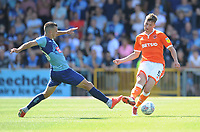 Blackpool's Paudie O'Connor under pressure from Wycombe Wanderers' Matt Bloomfield<br /> <br /> Photographer Kevin Barnes/CameraSport<br /> <br /> The EFL Sky Bet League One - Wycombe Wanderers v Blackpool - Saturday 4th August 2018 - Adams Park - Wycombe<br /> <br /> World Copyright © 2018 CameraSport. All rights reserved. 43 Linden Ave. Countesthorpe. Leicester. England. LE8 5PG - Tel: +44 (0) 116 277 4147 - admin@camerasport.com - www.camerasport.com