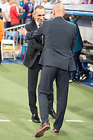 Real Madrid's coach Zinedine Zidane and Apoel's coach Giorgos Donis during UEFA Champions League match between Real Madrid and Apoel at Santiago Bernabeu Stadium in Madrid, Spain September 13, 2017. (ALTERPHOTOS/Borja B.Hojas)