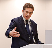 London, United Kingdom - 12 September 2019<br /> Johnny Mercer MP, Parliamentary Under-Secretary of State for Defence People and Veterans for the UK Government gives a keynote address speech and answers questions from the audience at DSEI 2019 security, defence and arms fair at ExCeL London exhibition centre.<br /> (photo by: EQUINOXFEATURES.COM)<br /> Picture Data:<br /> Photographer: Equinox Features<br /> Copyright: ©2019 Equinox Licensing Ltd. +443700 780000<br /> Contact: Equinox Features<br /> Date Taken: 20190912<br /> Time Taken: 10184023<br /> www.newspics.com
