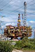 The Brent Bravo Delta oil platform topsides in Able Seaton Port, Hartlepool, North East England, UK.   This was the heaviest single cargo ever to be lifted in the history of the oil and gas industry was brought to Seaton to be scrapped. The aim is to recycle 98% of the structure.  (photo by Andrew Aitchison / In pictures via Getty Images)