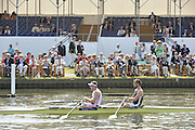 Henley on Thames. United Kingdom.. The Double Sculls Challenge Cup, Leander Club and London RC. Bow Bill LUCAS and Matt LANGRIDGE,    2013 Henley Royal Regatta, Henley Reach. 10:53:17  Friday  05/07/2013  [Mandatory Credit; Peter Spurrier/ Intersport Images]