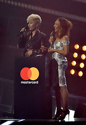 Emeli Sande with the award for Best British Female Solo Artist on stage at the BRIT Awards 2017, held at The O2 Arena, in London.<br /><br />Picture date Tuesday February 22, 2017. Picture credit should read Matt Crossick/ EMPICS Entertainment. Editorial Use Only - No Merchandise.