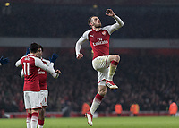 Football - 2017 / 2018 Premier League - Arsenal vs. Everton<br /> <br /> Aaron Ramsey (Arsenal FC) leaps into the air after scoring his second goal at The Emirates.<br /> <br /> COLORSPORT/DANIEL BEARHAM