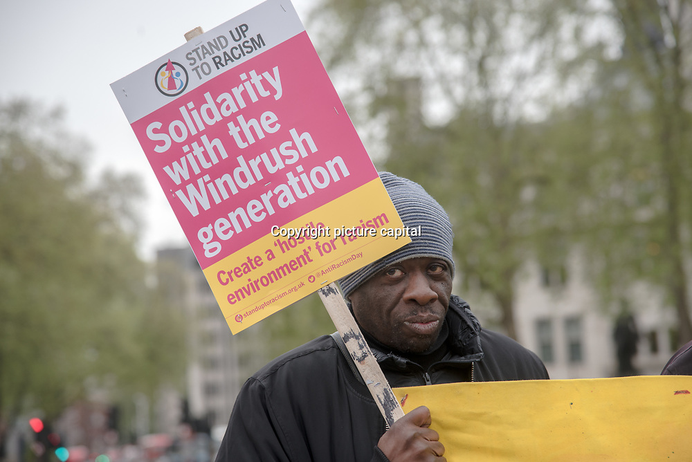 Weyman Bennett of Stand Up To Racism addresses supporter Justice For Windrush - Scrap May's Racist Act Hosted by Stand Up To Racism during the debate in the Parliament on 30 April 2018 at Parliament Square, London, UK.