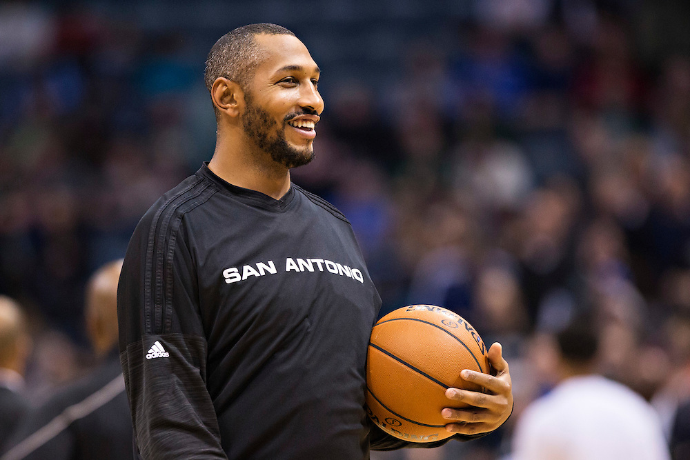 """MILWAUKEE, WI- JANUARY 4:  Boris Diaw #33 of the San Antonio Spurs warming up before a game against the Milwaukee Bucks at BMO Harris Bradley Center on January 4, 2016 in Milwaukee, Wisconsin.  """"NOTE TO USER: User expressly acknowledges and agrees that, by downloading and or using this photograph, User is consenting to the terms and conditions of the Getty Images License Agreement.""""(Photo by Wesley Hitt/Getty Images) *** Local Caption *** Boris Diaw"""