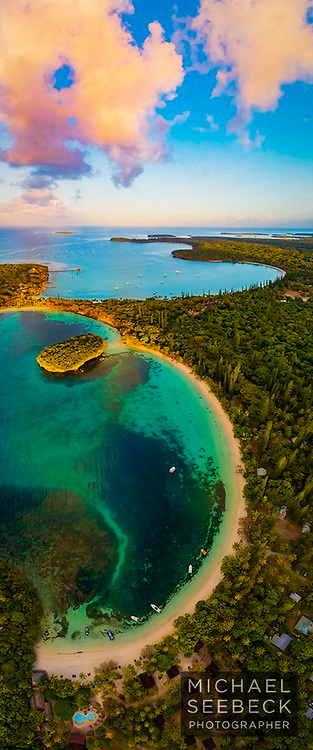 Spectacular dawn colours over Kanumera Bay, Isle of Pines, New Caledonia.<br /> <br /> Limited Edition of 125