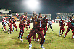© Licensed to London News Pictures. 07/10/2012. The West Indian team celebrate during their lap of honour during the World T20 Cricket Mens Final match between Sri Lanka Vs West Indies at the R Premadasa International Cricket Stadium, Colombo. Photo credit : Asanka Brendon Ratnayake/LNP