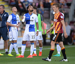 Byron Moore of Bristol Rovers looks up at the drones in the sky which causes the game to stop. - Mandatory by-line: Alex James/JMP - 17/09/2016 - FOOTBALL - Coral Windows Stadium - Bradford, England - Bradford City v Bristol Rovers - Sky Bet League One