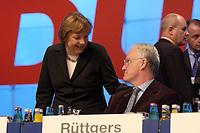 01 DEC 2003, BERLIN/GERMANY:<br /> Angela Merkel, CDU Bundesvorsitzender, und Juergen Ruettgers, CDU Landesvorsitzender Nordrhein-Westfalen, im Gespraech, vor Beginn des17. CDU Parteitages, Messe Leipzig<br /> IMAGE: 20031201-01-010<br /> KEYWORDS: party congress, Jürgen Rüttgers, Gespräch