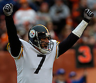 Pittsburgh quarterback Ben Roethlisberger celebrates the Steelers' first touchdown of the game yesterday in the first quarter.