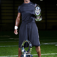 Adrian Peterson and his pro bowl and rookie of the year trophies at Winter Park in Eden Prairie, Minnesota on April 23, 2008.