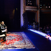 NHPR's Virginia Prescott interviews author Doris Kearns Goodwin during a Writers on a New England Stage show at The Music Hall in Portsmouth, NH