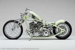 """""""Ol' Fancy"""", a seafoam green panhead built by """"Taco"""" Rodriguez of Taco Kustoms in Daytona Beach, FL. Photographed by Michael Lichter in Sturgis, SD on August 4 2017. ©2017 Michael Lichter."""