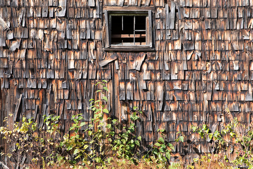 Close up of wooden cedar shingles in Carrolll County, New Hampshire, USA