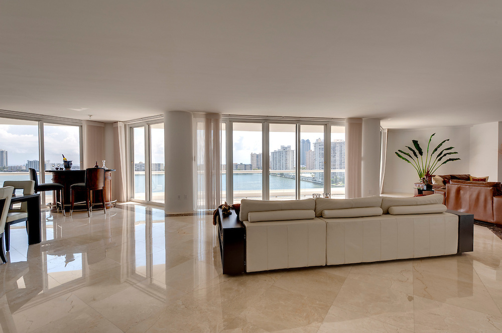 Modern Living Room, overlooking the Bay in Miami.