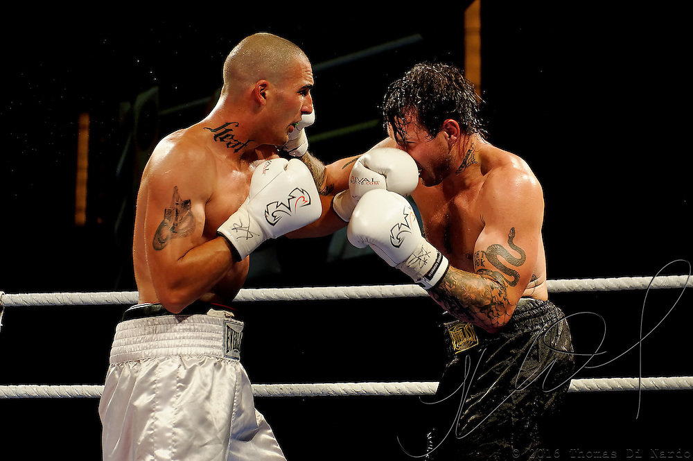 June 18, 2009 - Richmond, BC - Rumble at the Rock IV - Cruiserweight fighters Paul Tyrl of Vancouver, BC, and James Dearmin of Surrey squared off in a four round non-title bout. Dearmin improved his record to 3-5-1 with a unanimous decision over Tryl (3-4) in the scheduled four-round cruiserweight battle..The River Rock Casino Resort hosted the West Coast Promotions Rumble at the Rock VI boxing event at the River Rock Show Theatre.