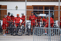 ROTTACH-EGERN, GERMANY - Friday, July 28, 2017: Liverpool's Roberto Firmino, Dominic Solanke and Dejan Lovren on bikes after a training session at FC Rottach-Egern on day three of the preseason training camp in Germany. (Pic by David Rawcliffe/Propaganda)