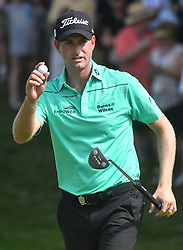 August 9, 2018 - St. Louis, Missouri, U.S. - ST. LOUIS, MO - AUGUST 09: Webb Simpson reacts after making birdie on the #15 hole during the first round of the PGA Championship on August 09, 2018, at Bellerive Country Club, St. Louis, MO.  (Photo by Keith Gillett/Icon Sportswire) (Credit Image: © Keith Gillett/Icon SMI via ZUMA Press)