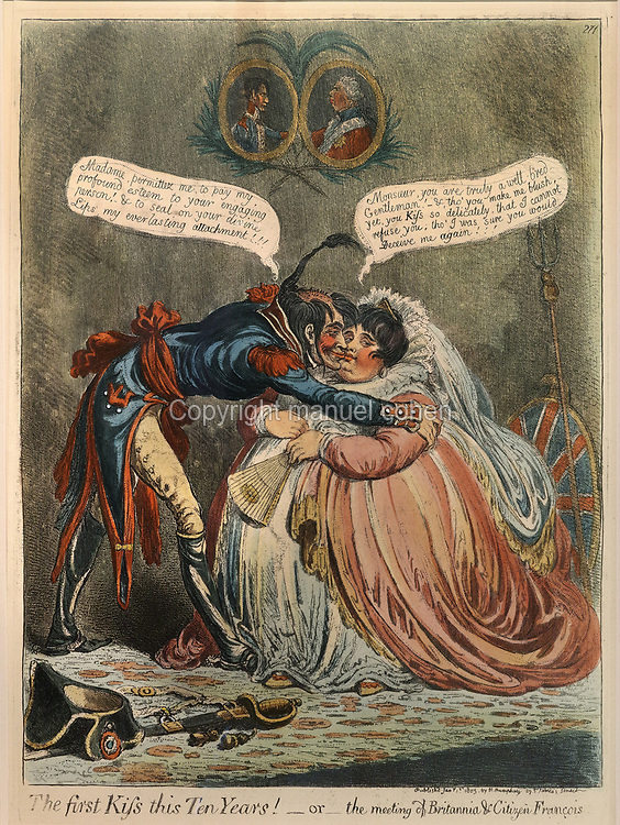 The First Kiss this 10 years!, or The Meeting of Britannia and Citizen Francois, political cartoon, 1803, etching by James Gillray, 1756-1815, in the Antechamber, housing displays relating to Franco-British relations during the revolutionary period of the First Empire, in the Chateau de Hardelot, originally the site of a 12th century castle, rebuilt over the centuries and finally redeveloped in the 19th century, in Condette, Pas-de-Calais, France. In the cartoon, a rotund Britannia is embraced by a bedraggled French officer, beneath the portraits of Napoleon and George III. The current chateau dates from 1865-72, when its owner, Henry Guy, rebuilt it in Neo-Tudor style. Since 2009 the building has housed the Centre Culturel de l'Entente Cordiale, with an arts programme involving France and Britain. It is situated within the Reserve Naturelle Regionale du Marais de Condette, a protected marshland area. Picture by Manuel Cohen