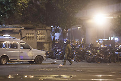 May 24, 2017 - Jakarta, Indonesia - Police officers search for dangerous material in the site of bomb exploison at Kampung Melayu bus station, Jakarta, Indonesia, on May 24, 2017. Five people dead including two suspected suicide bombers and three police officers.Another five police officers and five civilians injured. (Credit Image: © Agoes Rudianto/NurPhoto via ZUMA Press)