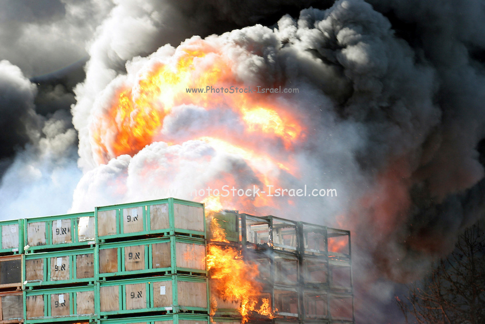 Israel, Galilee, a raging wild fire in an agricultural packing plant