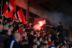 6th January 2018 - FA Cup - 3rd Round - Fleetwood Town v Leicester City - Fleetwood fans set off a red flare - Photo: Simon Stacpoole / Offside.
