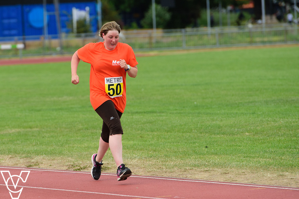 Event: 5000 meter relay<br /> Competitors, from left: Ruth Stacey<br /> <br /> Metro Blind Sport's 42nd Athletics Open, held at Mile End Stadium, Tower Hamlets, London.<br /> <br /> Picture: Chris Vaughan Photography for Metro Blind Sports<br /> Date: June 16, 2018