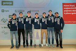 Ski Jumping team: Jernej Damjan, Peter Prevc, Timi Zajc, Anze Lanisek, Tilen Bartol, Anze Semenic and Gorazd Bertoncelj during press conference of Slovenian Nordic Ski teams, on January 8, 2018 in Triglav Lab, Ljubljana, Slovenia. Photo by Vid Ponikvar / Sportida