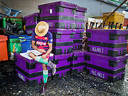 27 OCTOBER 2015 - YANGON, MYANMAR: A laborer naps in the fish market at Aungmingalar Jetty in Yangon. The market is home to one of the largest fish markets in Yangon and a meat and produce market.    PHOTO BY JACK KURTZ