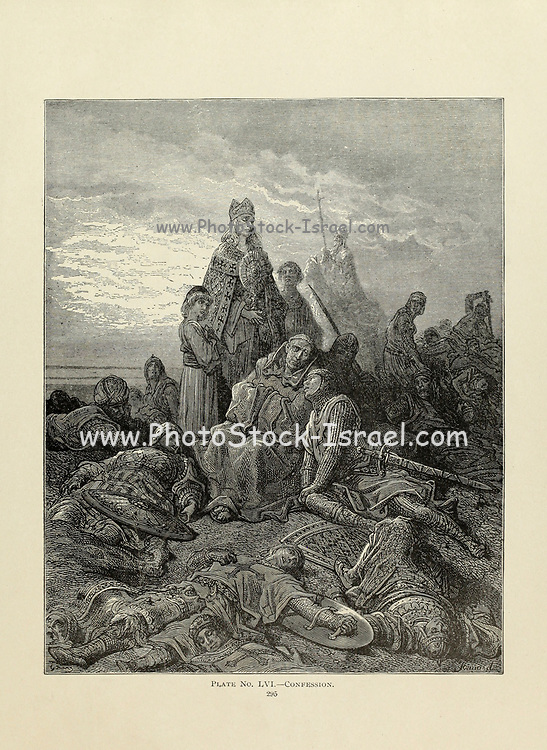 Confession Plate LVI from the book Story of the crusades. with a magnificent gallery of one hundred full-page engravings by the world-renowned artist, Gustave Doré [Gustave Dore] by Boyd, James P. (James Penny), 1836-1910. Published in Philadelphia 1892