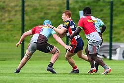 Blake Boyland of Bristol Academy U18 is tackled by George Hammond of Harlequins Academy U18 - Mandatory by-line: Craig Thomas/JMP - 03/02/2018 - RUGBY - SGS Wise Campus - Bristol, England - Bristol U18 v Harlequins U18 - Premiership U18 League