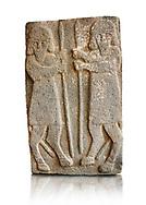 Pictures & images of the South Gate Hittite sculpture stele depicting Hittite Gods. 8th century BC. Karatepe Aslantas Open-Air Museum (Karatepe-Aslantaş Açık Hava Müzesi), Osmaniye Province, Turkey.  Against white background