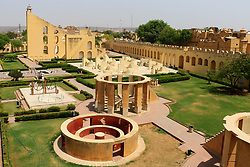 June 14, 2017 - Jaipur, Rajasthan, India - A view of historical Jantar Mantar monument in Jaipur , Rajasthan ,India ,14 June,2017. Jantar Mantra monument is a collection of nineteen architectural astronomical instruments, built by the Rajput King 'Sawai Jai Singh II, and completed in 1734 CE.It features the world's largest stone sundial,and is a UNESCO world heritage site.(Photo By Vishal Bhatnagar/NurPhoto) (Credit Image: © Vishal Bhatnagar/NurPhoto via ZUMA Press)