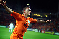 Fotball<br /> Kvalifisering Euro 2008<br /> Nederland v Slovenia<br /> 17.10.2007<br /> Foto: ProShots/Digitalsport<br /> NORWAY ONLY<br /> <br /> eindhoven , 17-10-2007 , ek kwalificatie wedstrijd nederland - slovenie wesley sneijder scoort de 1-0