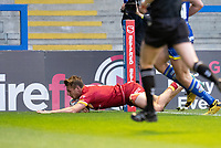 Rugby League - 2020 Super League - Round 13 - Warrington Wolves vs Catalan Dragon<br /> <br /> Catalans Dragons's Tom Davis scores his sides first try,   at the Halliwell Jones Stadium, Warrington<br /> <br /> <br /> COLORSPORT/TERRY DONNELLY