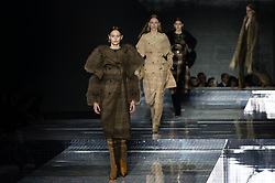 © Licensed to London News Pictures. 17/02/2020. London, UK.  Burberry London Fashion Week Fall Winter 2020 runway show - model on the catwalk.  Photo credit : Richard Isaac/LNP