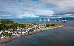 Aerial view from drone of Cromarty village on Black Isle on Cromarty Firth, Ross and Cromarty, Scotland, UK