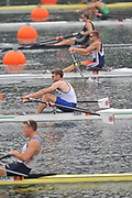 Shunyi, CHINA.  GBR M1X Alan CAMPBELL at the the start of his semi-final in the men's single sculls, at the 2008 Olympic Regatta, Shunyi Rowing Course. Tuesday 12.08.2008  [Mandatory Credit: Peter SPURRIER, Intersport Images]