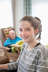 Portrait of happy girl in rest home