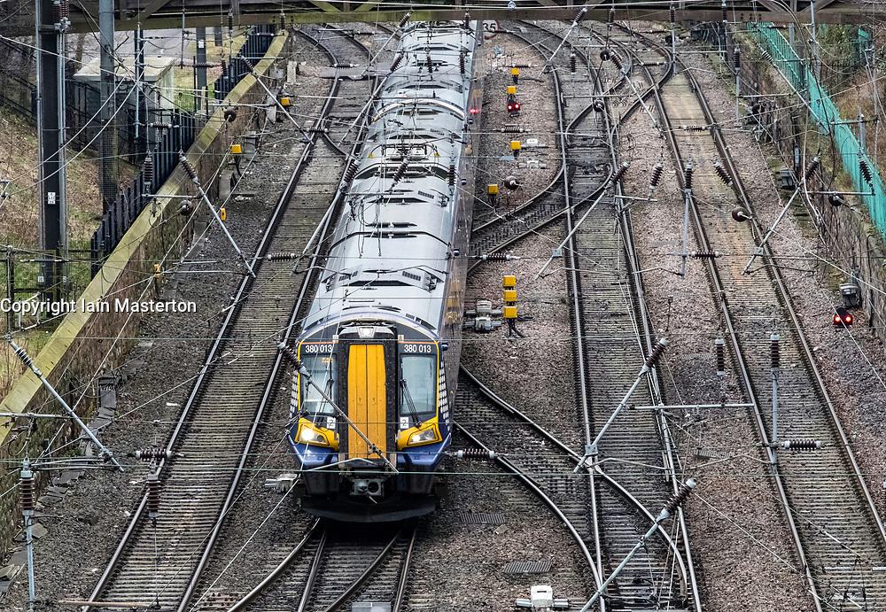 Scotrail passenger train  approaching to Waverley Station in Edinburgh, Scotland, United Kingdom