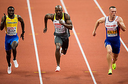 Sulayman Bah of Sweden, Aleixo Platini Menga of Germany, Richard Kilty of Great Britain  compete in the 60m Men heats on day two of the 2017 European Athletics Indoor Championships at the Kombank Arena on March 4, 2017 in Belgrade, Serbia. Photo by Vid Ponikvar / Sportida