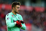 Stoke City Goalkeeper Jack Butland looks on. Premier league match, Stoke City v Leicester City at the Bet365 Stadium in Stoke on Trent, Staffs on Saturday 4th November 2017.<br /> pic by Chris Stading, Andrew Orchard sports photography.